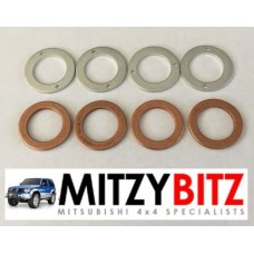FUEL INJECTOR WASHERS ( 4 X COPPER 4 X ALLOY )