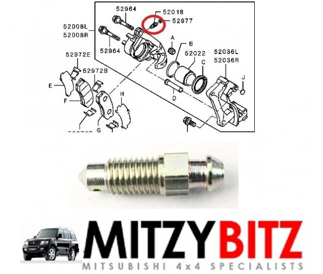 BRAKE CALIPER BLEEDER BLEED SCREW (M7) FOR A MITSUBISHI PAJERO/MONTERO - V43W
